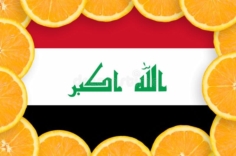 Bandera de Iraq en marco fresco de las rebanadas de los agrios stock de ilustración