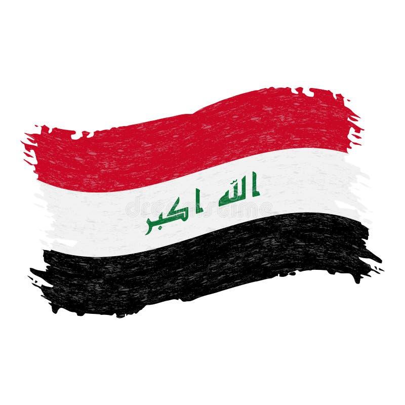 Bandera de Iraq, movimiento del cepillo del extracto del Grunge aislado en un fondo blanco Ilustración del vector stock de ilustración