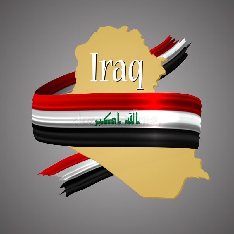 Bandera de Iraq y mapa de la frontera colores oficiales nacionales icono de la elección 3d Muestra de la gloria del emblema Fondo libre illustration