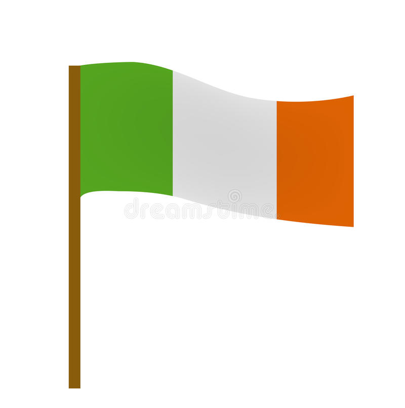 Bandera de Irlanda, estilo plano del icono Símbolo del día del ` s de St Patrick Aislado en el fondo blanco libre illustration
