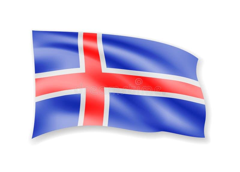 Bandera de Islandia que agita en blanco Bandera en el viento ilustración del vector
