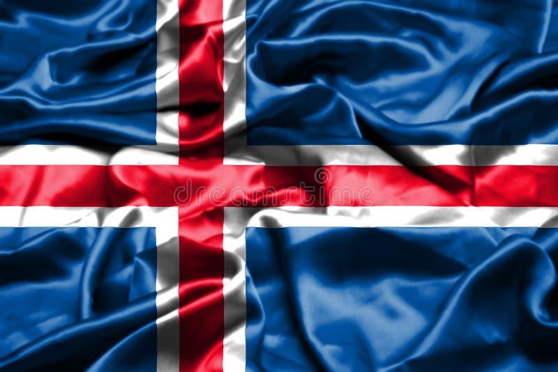 Bandera de Islandia que agita en el viento stock de ilustración
