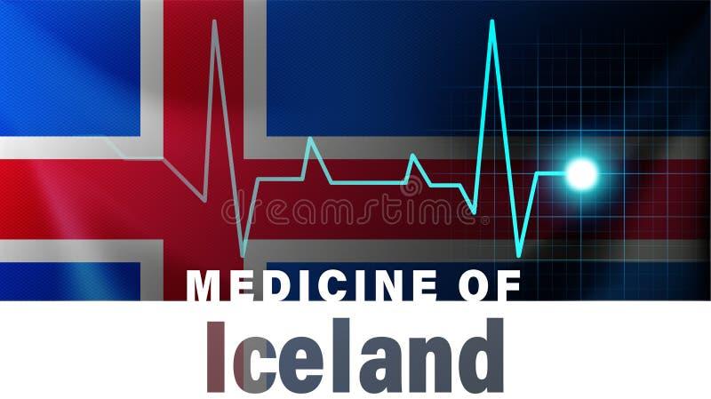 Bandera de Islandia y línea ejemplo del latido del corazón Medicina de Islandia con nombre de país libre illustration