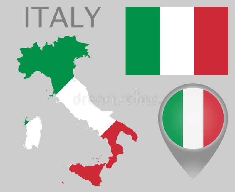 Bandera de Italia, mapa e indicador del mapa stock de ilustración
