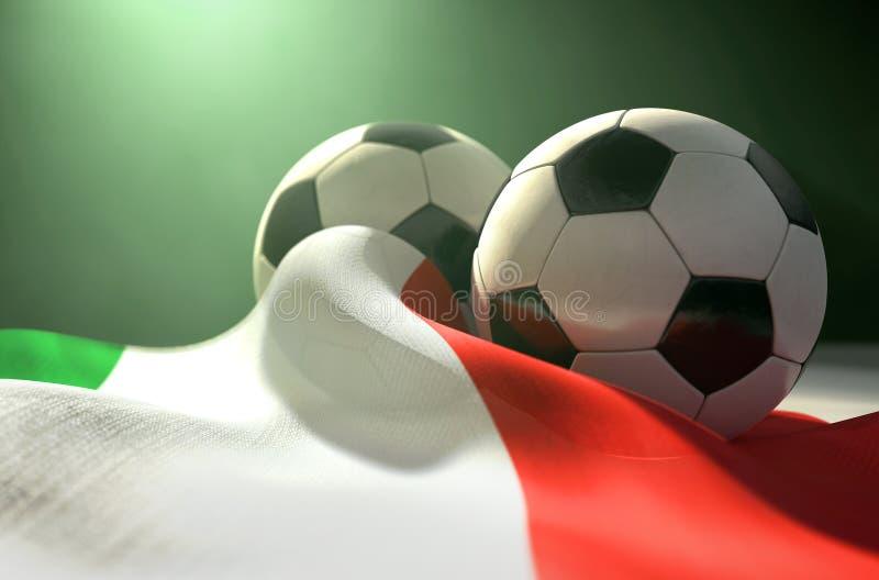 Bandera de Italia y balón de fútbol ilustración del vector