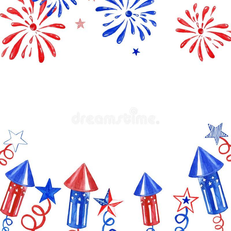 Bandera de julio del cuarto con los fuegos artificiales y saludo en el fondo blanco Ejemplo festivo del Día de la Independencia p foto de archivo