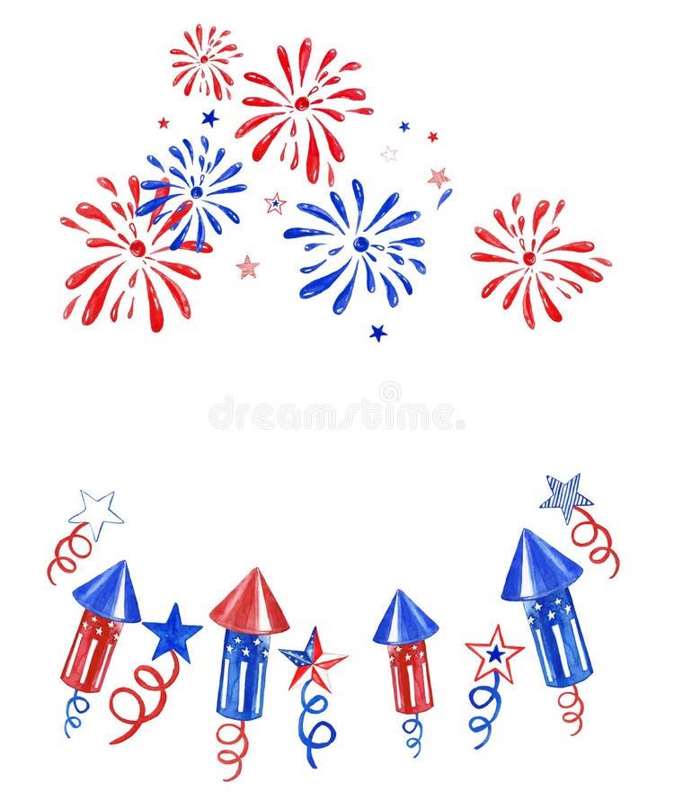 Bandera de julio del cuarto con los fuegos artificiales y los saludos en el fondo blanco Ejemplo del Día de la Independencia para ilustración del vector