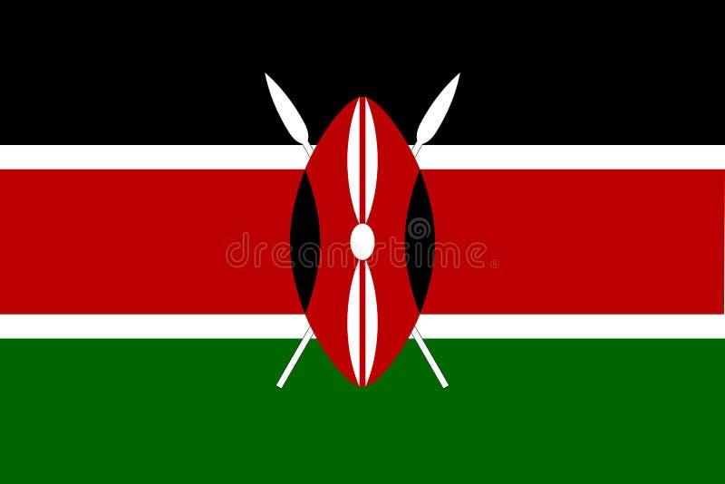 Bandera de Kenia en colores oficiales y con la relación de aspecto de 2:3 ilustración del vector