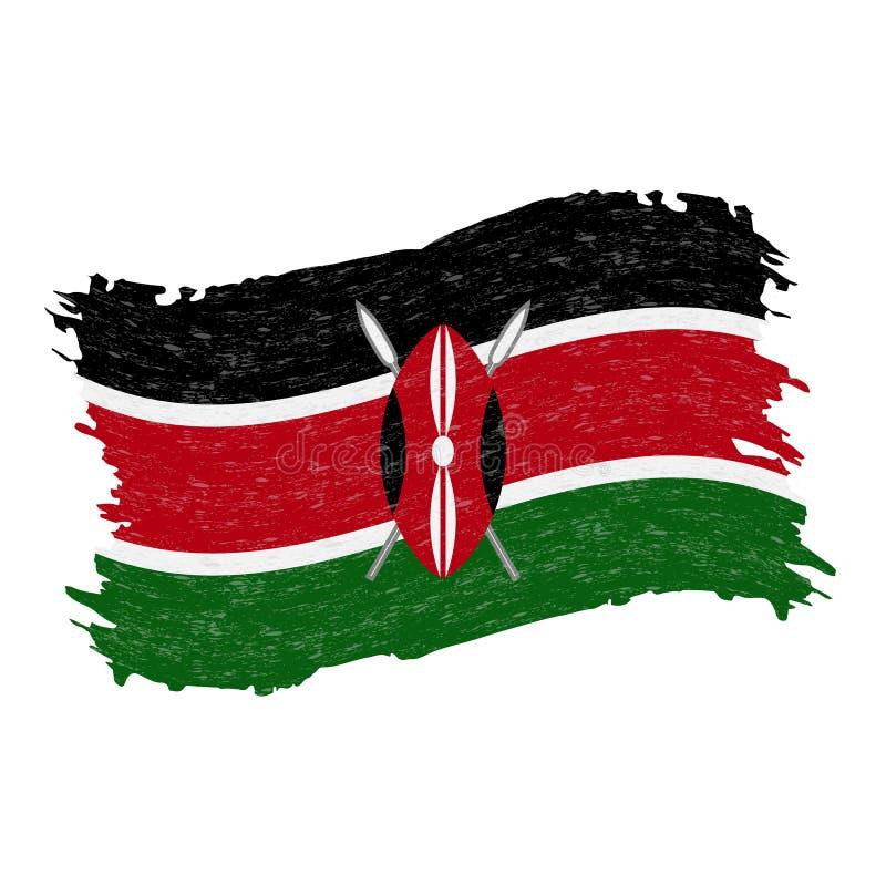 Bandera de Kenia, movimiento del cepillo del extracto del Grunge aislado en un fondo blanco Ilustración del vector stock de ilustración