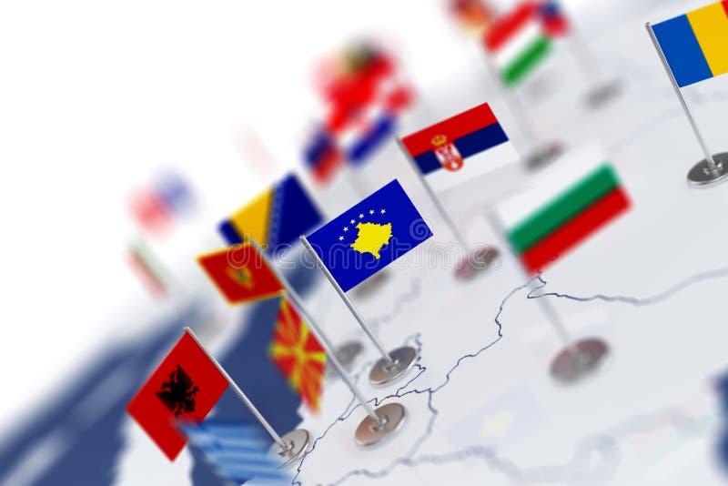 Bandera de Kosovo en el foco Mapa de Europa con las banderas de países ilustración del vector