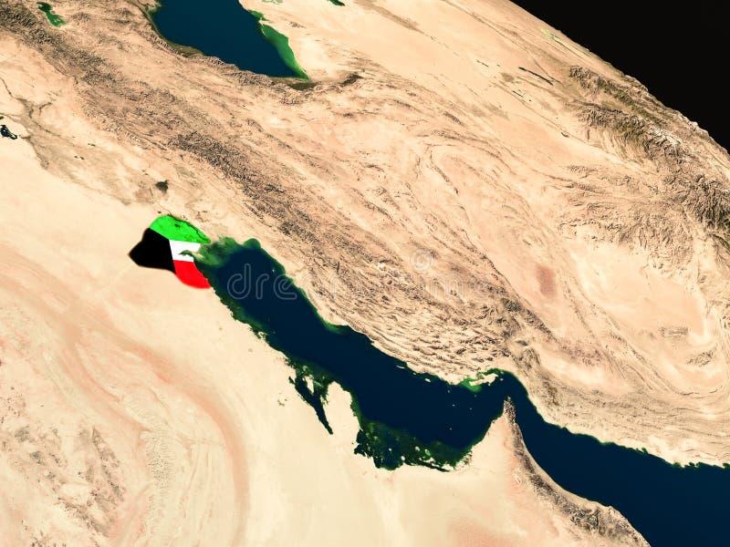 Bandera de Kuwait del espacio stock de ilustración