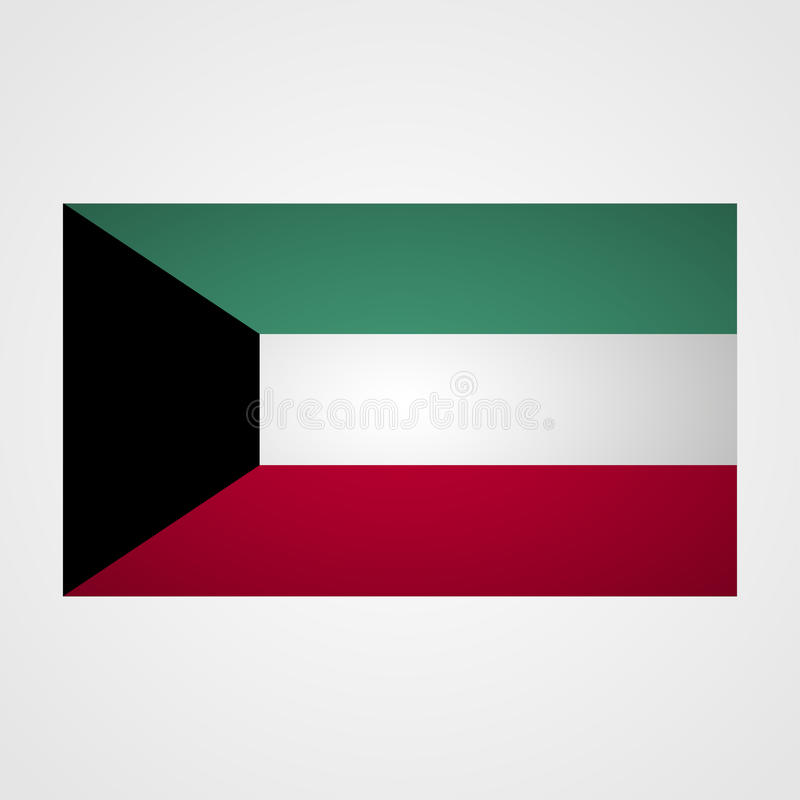 Bandera de Kuwait en un fondo gris Ilustración del vector ilustración del vector