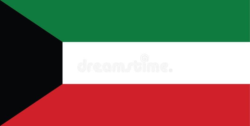 Bandera de Kuwait, golfo árabe stock de ilustración