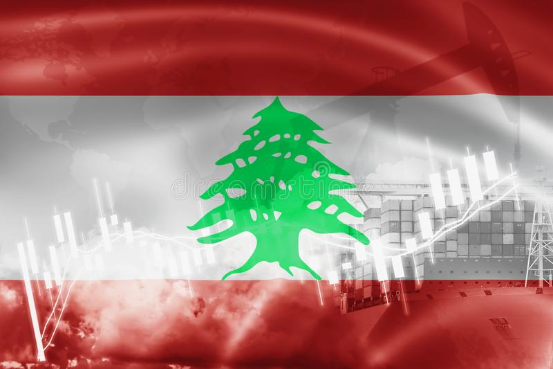 Bandera de Líbano, mercado de acción, economía y comercio, producción petrolífera, del intercambio portacontenedores en la export ilustración del vector