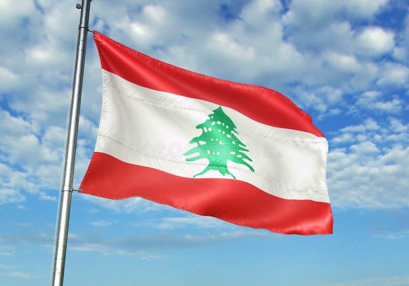 Bandera de Líbano que agita con el cielo en el ejemplo realista 3d del fondo stock de ilustración