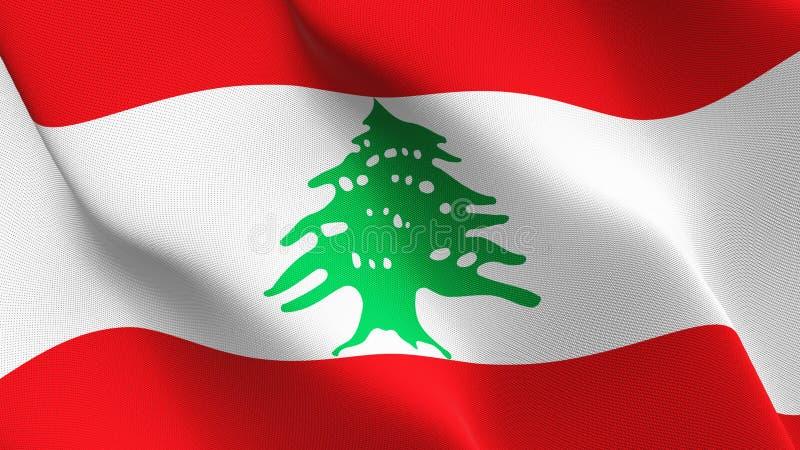 Bandera de Líbano que agita en el viento ilustración del vector