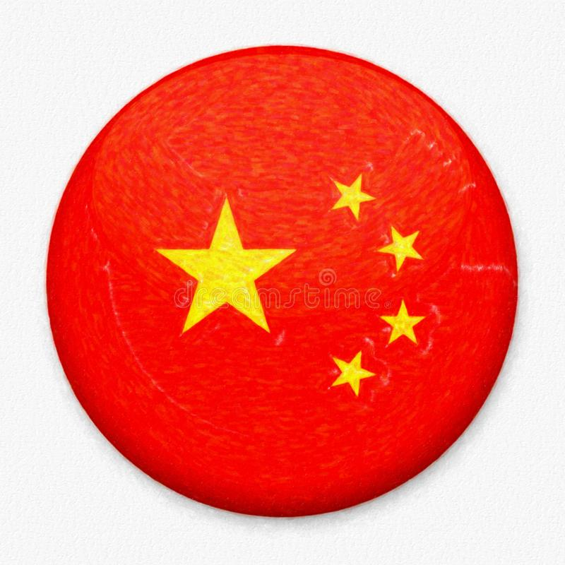 Bandera de la acuarela de China bajo la forma de botón redondo fotos de archivo
