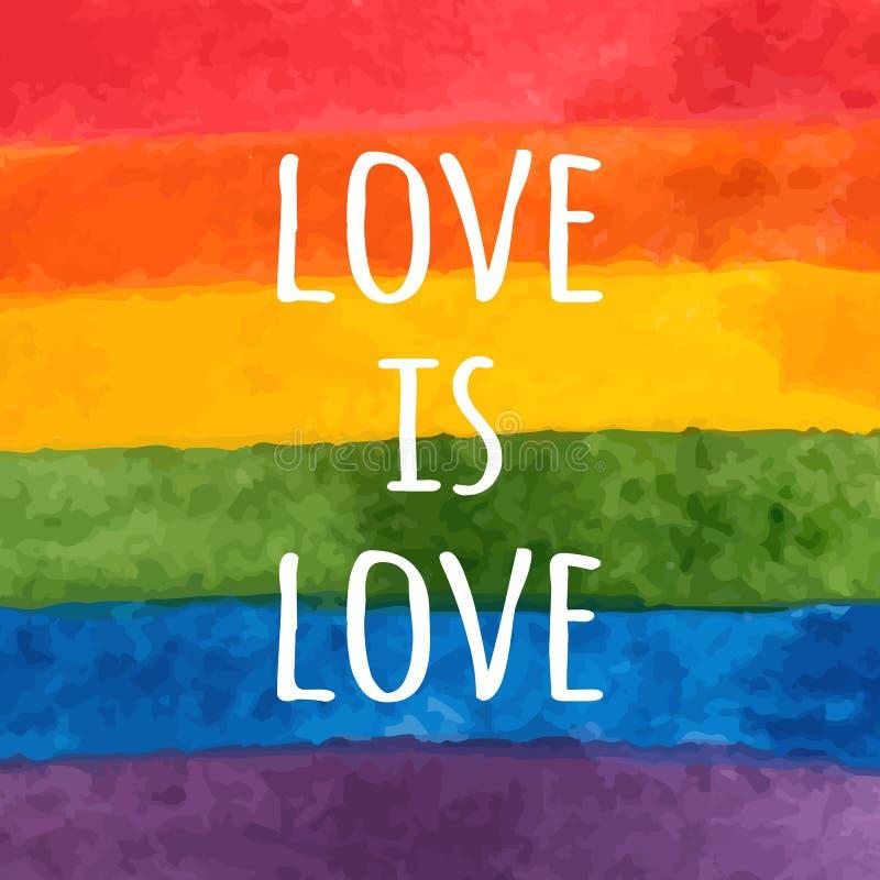Bandera de la acuarela LGBT Arco iris pintado a mano Tarjeta del día de la tolerancia El amor es amor - lema del orgullo Ilustrac libre illustration