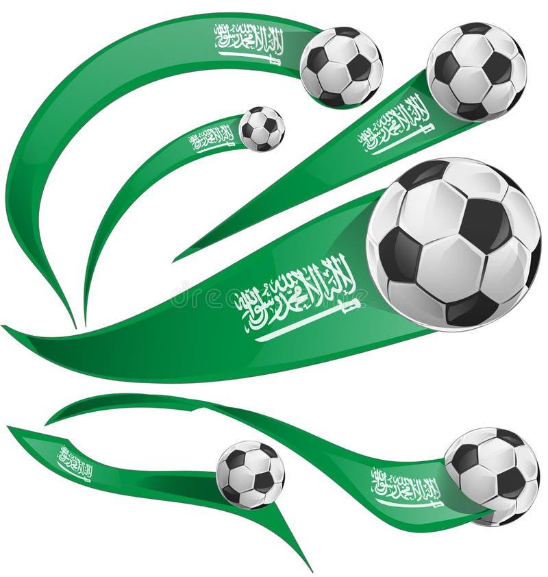 Bandera de la Arabia Saudita fijada con el balón de fútbol stock de ilustración
