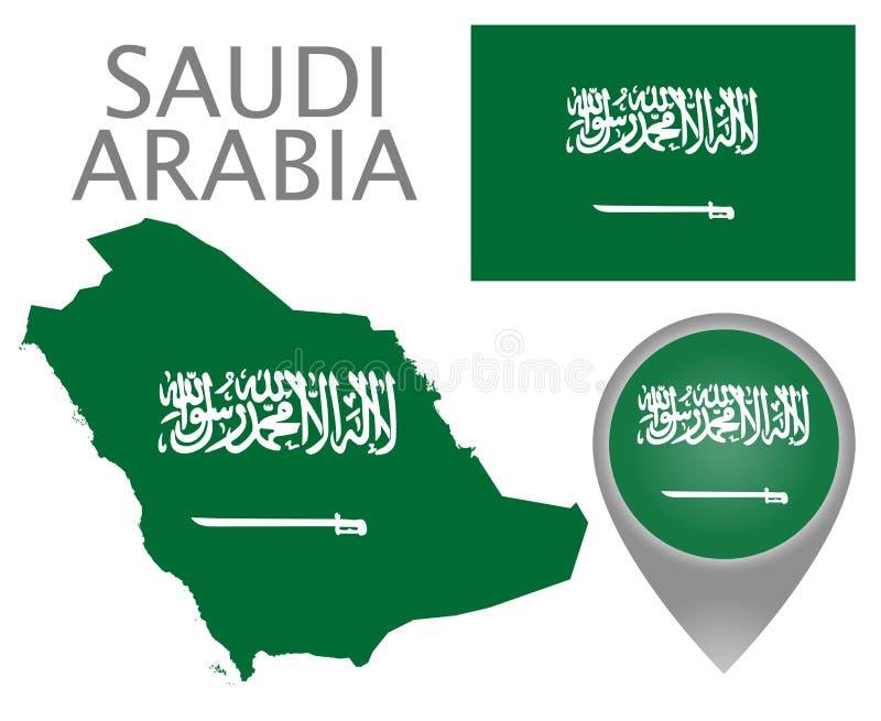 Bandera de la Arabia Saudita, mapa e indicador del mapa ilustración del vector