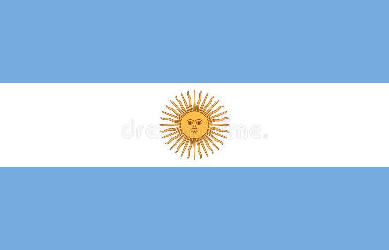 Bandera de la Argentina en colores oficiales y con la relación de aspecto de 9:14 stock de ilustración