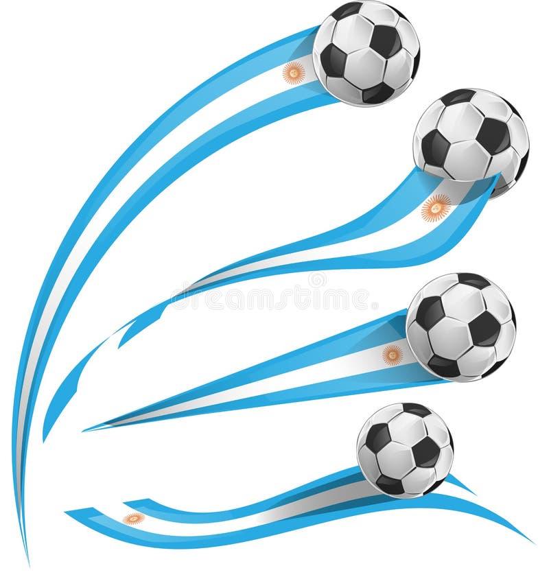 Bandera de la Argentina fijada con el balón de fútbol libre illustration