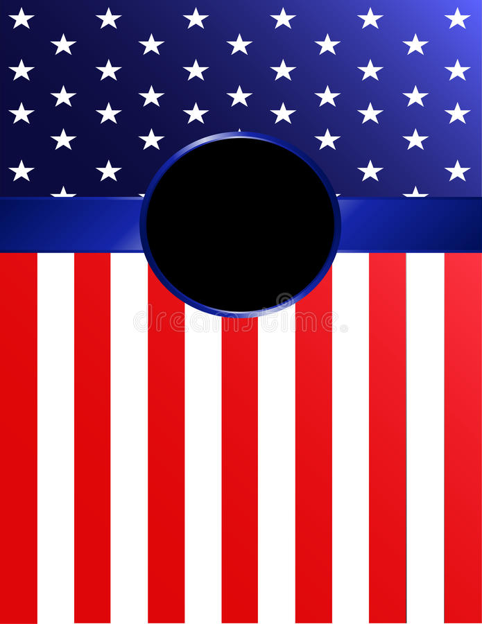Bandera de la bandera americana con el rosetón ilustración del vector