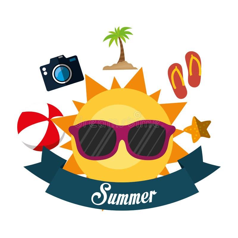 bandera de la cámara de la chancleta de la bola de vidrios de sol de la diversión del verano del cartel ilustración del vector