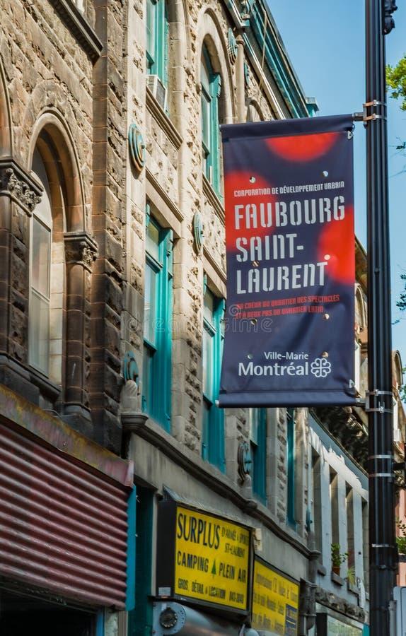 Bandera de la calle en Montreal foto de archivo libre de regalías
