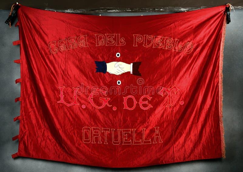 Bandera de la casa Ortuella del pueblo Guerra civil española imagenes de archivo