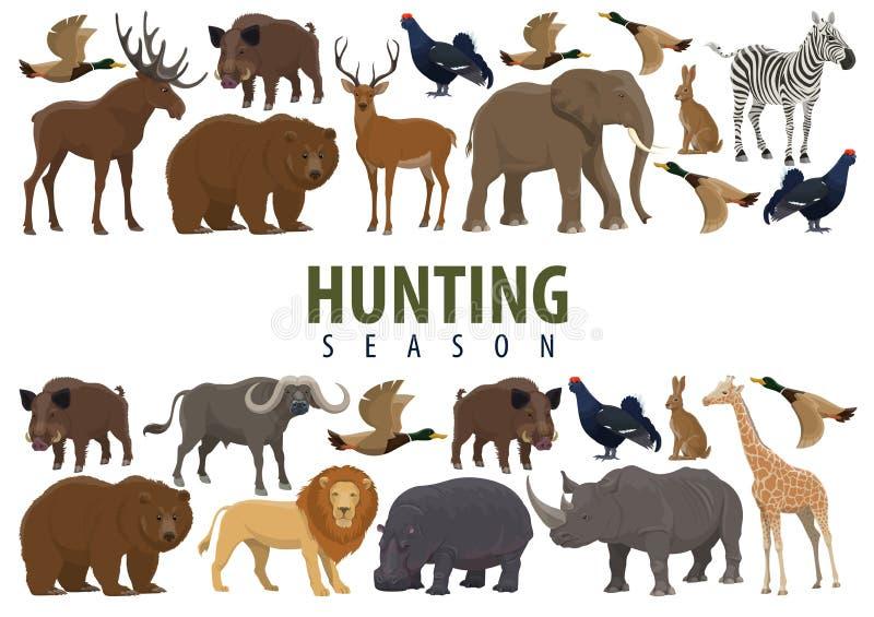 Bandera de la caza con los animales salvajes y los pájaros libre illustration