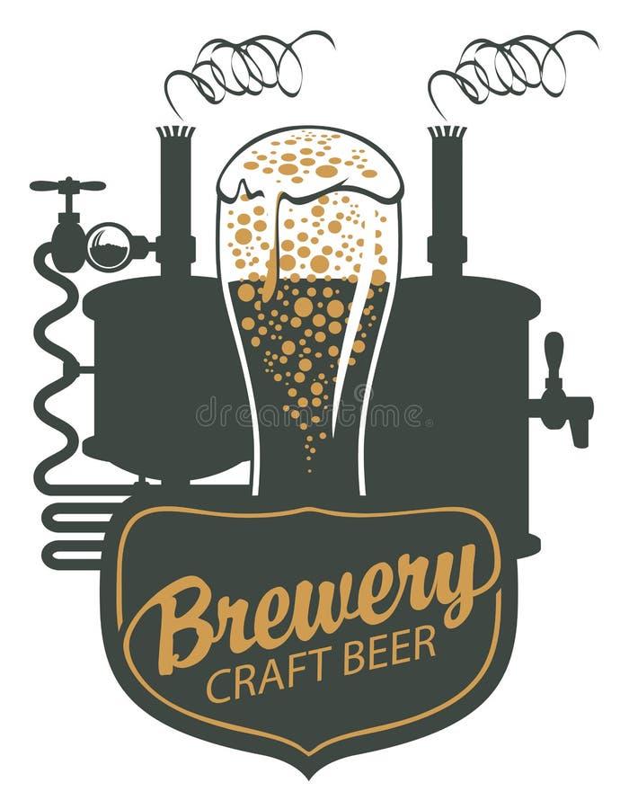 Bandera de la cerveza con la cadena de producción y la taza de madera stock de ilustración