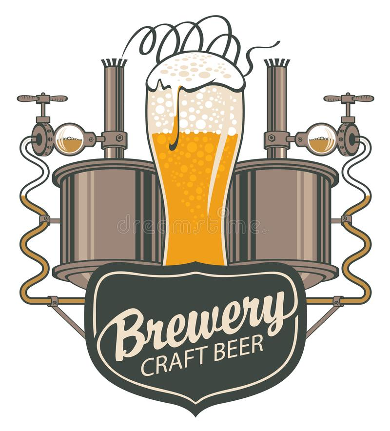 Bandera de la cerveza con la cadena de producción y la taza de madera libre illustration