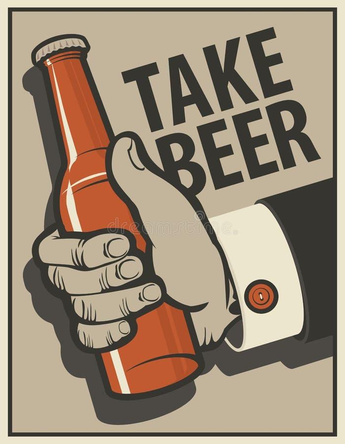 Bandera de la cerveza con la mano de un hombre con una botella ilustración del vector