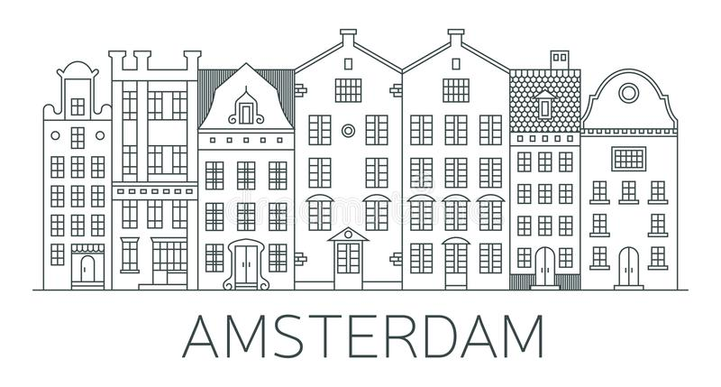 Bandera de la ciudad de Amsterdam en la línea estilo plana ilustración del vector