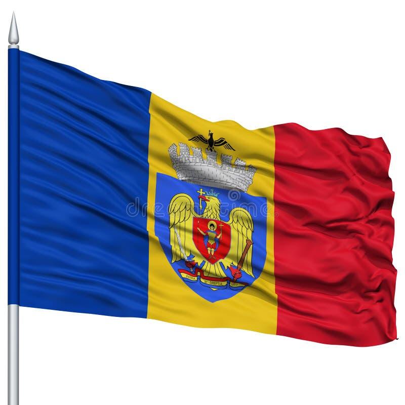 Bandera de la ciudad de Bucarest en asta de bandera stock de ilustración