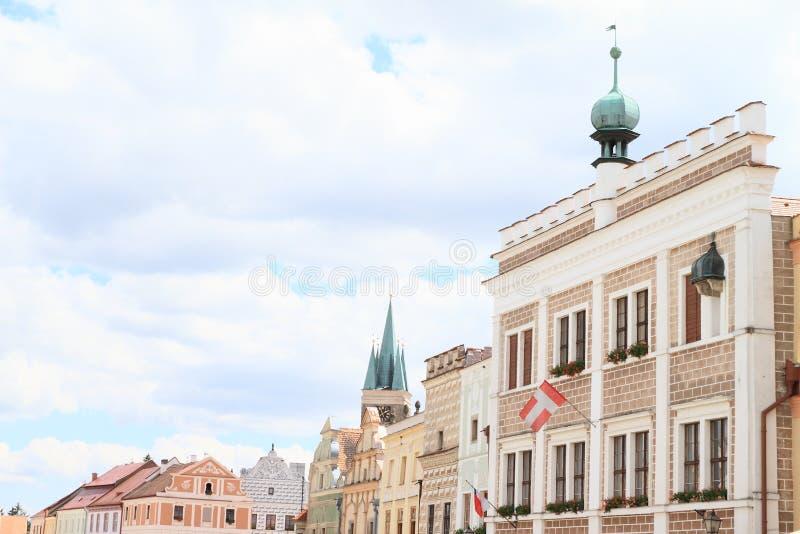 Bandera de la ciudad de Telc imagen de archivo libre de regalías
