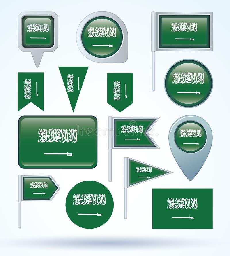 Bandera de la colección de la Arabia Saudita, ejemplo del vector libre illustration