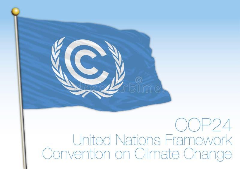 Bandera de la conferencia y de la organización del cambio de clima de Naciones Unidas ilustración del vector