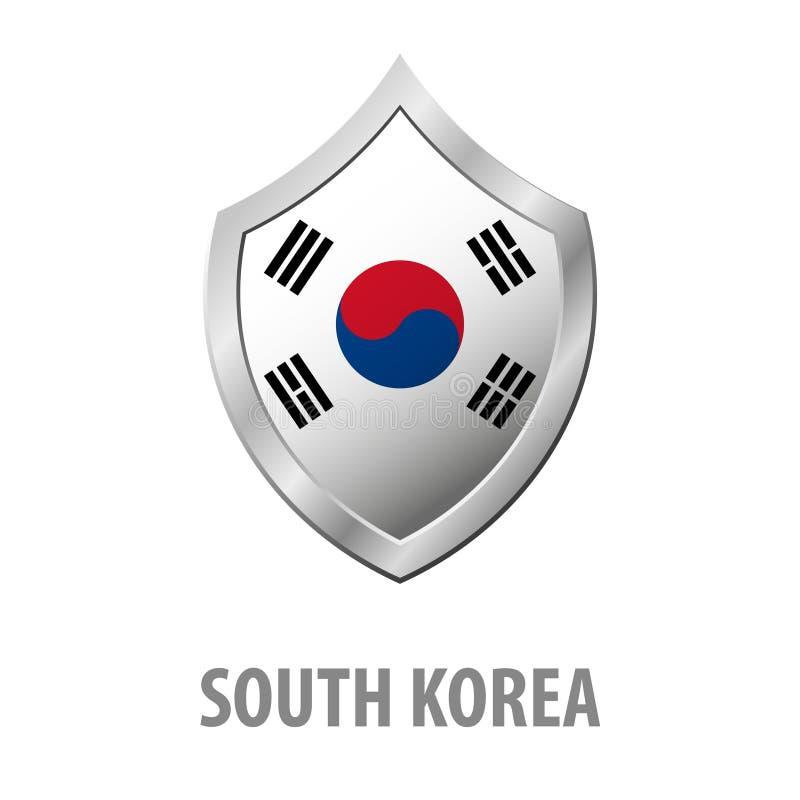 Bandera de la Corea del Sur en el ejemplo brillante del escudo del metal stock de ilustración