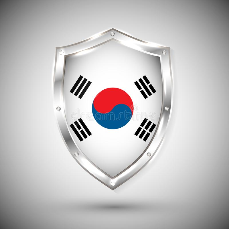 Bandera de la Corea del Sur en el ejemplo brillante del vector del escudo del metal Colección de banderas en el escudo contra el  ilustración del vector