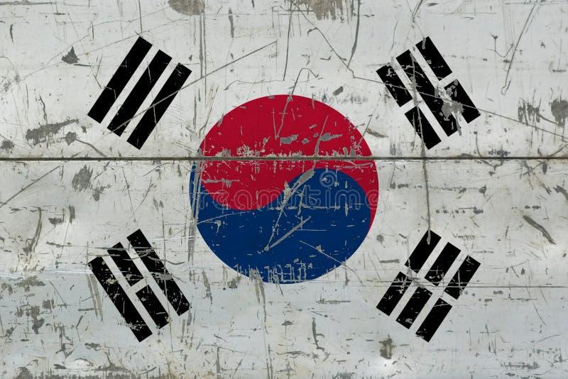 Bandera de la Corea del Sur del Grunge en vieja superficie de madera rasguñada Fondo nacional del vintage imágenes de archivo libres de regalías