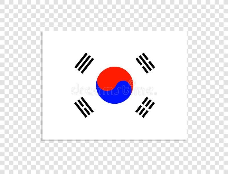 Bandera de la Corea del Sur, símbolo oficial aislada en fondo transparente ligero ilustración del vector