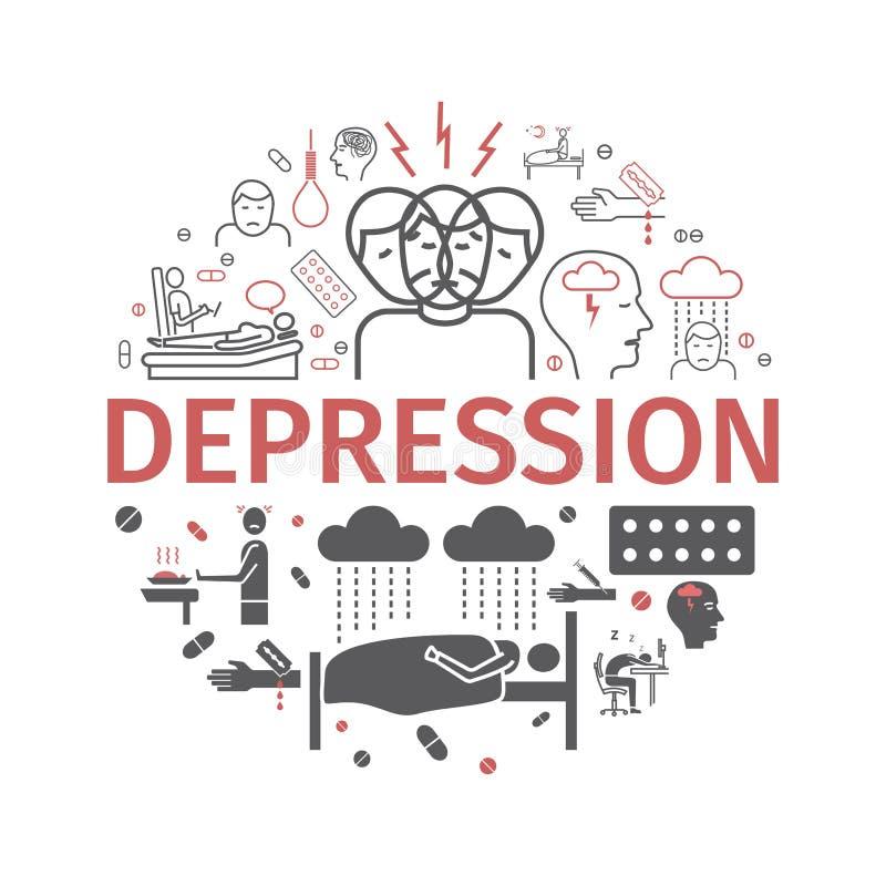 Bandera de la depresión Síntomas de Infographic, tratamiento Línea iconos fijados Ilustración del vector stock de ilustración