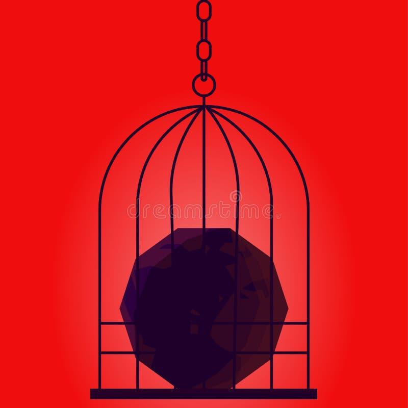 Bandera de la dictadura El planeta está en la jaula del dictador Poder sobre el mundo libre illustration