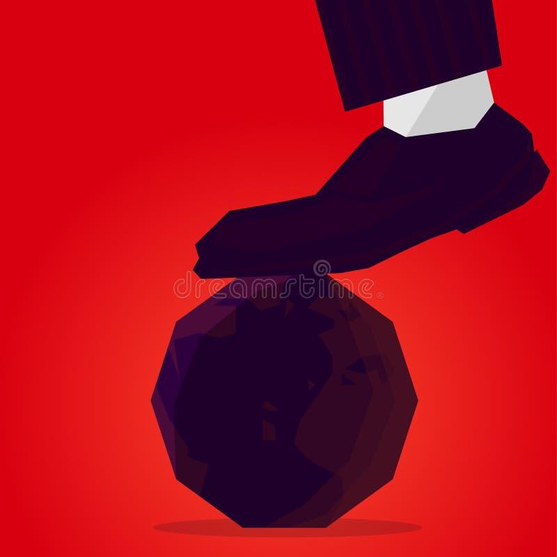 Bandera de la dictadura En el planeta la tierra viene el zapato del dictador stock de ilustración