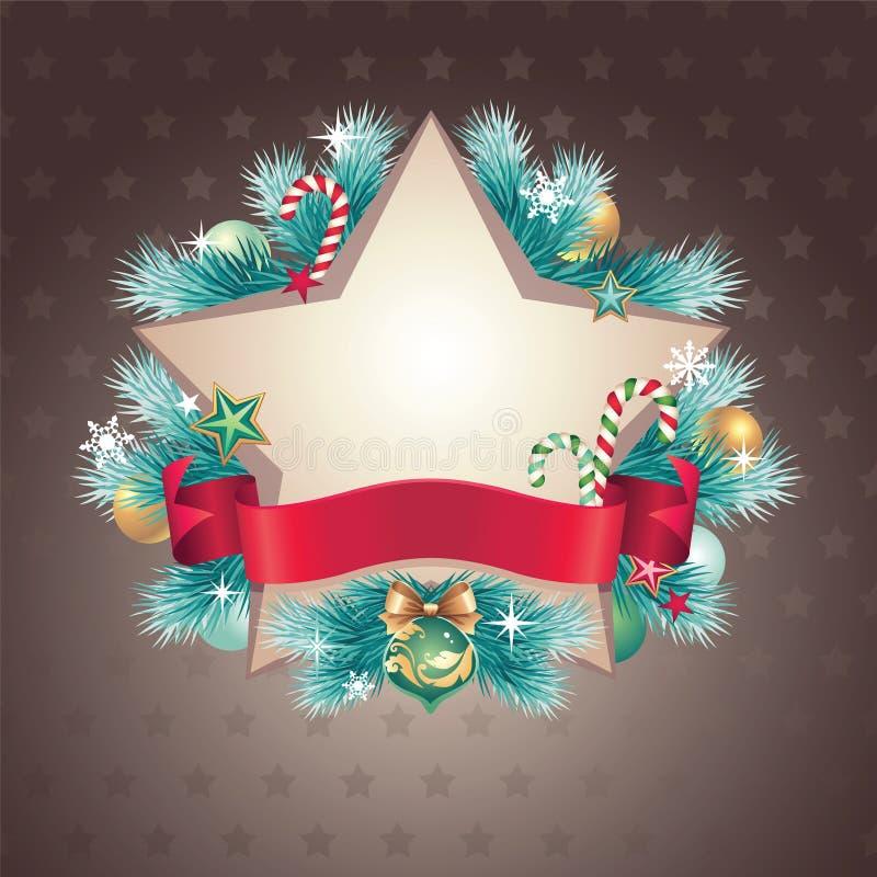 Bandera de la dimensión de una variable de la estrella de la Navidad del vintage stock de ilustración