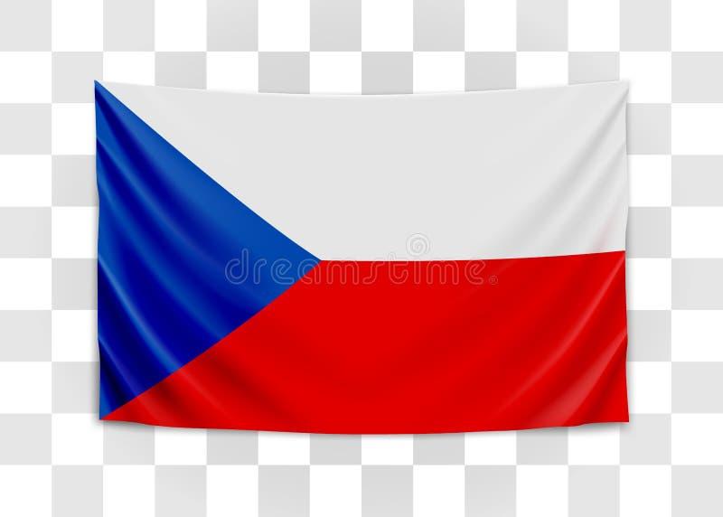 Bandera de la ejecuci?n de Checo Rep?blica Checa Concepto de la bandera nacional stock de ilustración