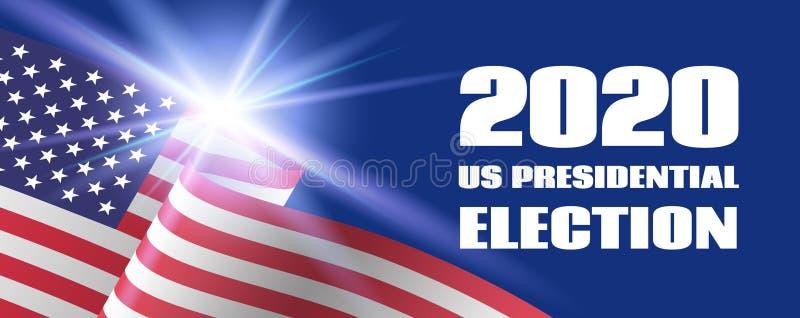 Bandera de la elección presidencial de los 2020 E.E.U.U. Plantilla del vector con la bandera de los E.E.U.U. ilustración del vector