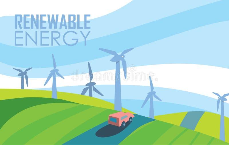 Bandera de la energía renovable Generación de la energía eólica ilustración del vector